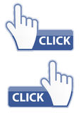 De curseur van de muishand klikt knoop vectorillustratie Stock Foto