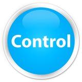 De cyaan blauwe ronde knoop van de controlepremie Stock Foto's