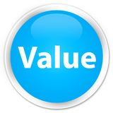 De cyaan blauwe ronde knoop van de waardepremie Stock Foto's