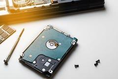 De Cybergegevens vallen concept aan: gebroken laptop, neerstortingsmotherboard, me royalty-vrije stock afbeelding
