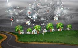 De cycloon raakte het landelijke dorp vector illustratie
