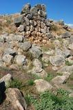 De cyclopean väggarna av Tiryns - Peloponnese royaltyfria bilder