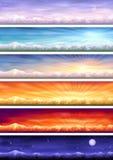 De cyclus van de dag - zes landschappen in verschillende tijd Stock Afbeeldingen