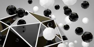 De 3d abstracte ballen op een grijze achtergrond Stock Foto's