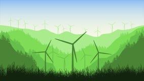 De 2d animatie van windturbines op een bergenachtergrond in het bosa-windlandbouwbedrijf in een mooi landschap vector illustratie