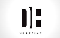 DE D E bielu listu loga projekt z Czarnym kwadratem Obrazy Royalty Free