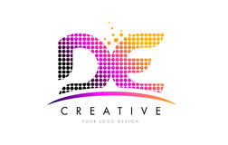 DE D E Letter Logo Design with Magenta Dots and Swoosh Stock Photo
