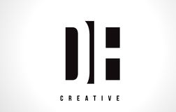 DE D E White Letter Logo Design with Black Square. Royalty Free Stock Images
