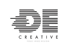 DE D E Zebra Letter Logo Design with Black and White Stripes Royalty Free Stock Photography