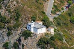 De d'Elba-vuurtoren van Isola in Punta Pollveraia Stock Foto