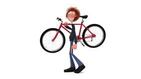 De 3D student door fiets stock videobeelden