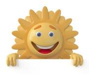 De 3D zon met een aanplakbord Royalty-vrije Stock Foto