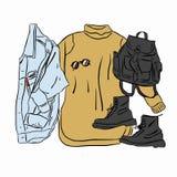 De daadwerkelijke vectorherfst van de tekeningslente ziet eruit De reeks van de straatslijtage breide kleding, jeansjasje, laarze royalty-vrije illustratie