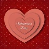 De dag abstracte achtergrond van Valentine ` s met gesneden document harten Stock Foto's