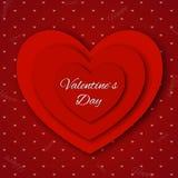 De dag abstracte achtergrond van Valentine ` s met gesneden document harten Royalty-vrije Stock Fotografie