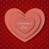 De dag abstracte achtergrond van Valentine ` s met gesneden document harten Stock Afbeelding