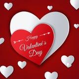 De dag abstracte achtergrond van Valentine ` s met gesneden document harten Stock Afbeeldingen