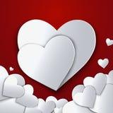 De dag abstracte achtergrond van Valentine ` s met gesneden document harten Stock Fotografie