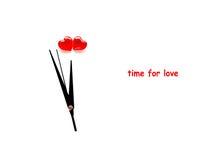De dag abstracte klok van Valentine ` s en twee harten Stock Foto's