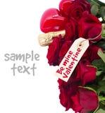 De dag donkerrode rozen van Valentine Royalty-vrije Stock Afbeelding