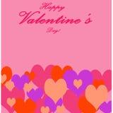 De Dag en de Liefdesymbool van Valentine ` s Multicolored Hart op Roze Rug Stock Foto