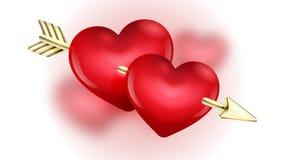 De dag gouden pijl en harten van Valentine ` s op onduidelijk beeldachtergrond De vectorillustratie van de klemkunst Stock Foto's