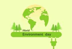 De Dag Groen Silhouet Forest Earth Planet Globe van het wereldmilieu Royalty-vrije Stock Fotografie