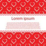 De dag of het Huwelijkskaart van Valentine ` s Witte harten op rode vectorachtergrond en streep voor tekst Stock Foto