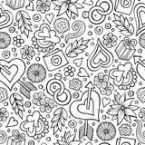 De Dag naadloos patroon van beeldverhaal leuk hand getrokken Valentine ` s royalty-vrije illustratie