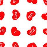 De dag naadloos patroon van Valentine met hart decoratie en het van letters voorzien stock illustratie