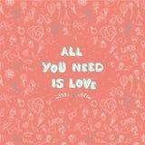 De Dag naadloos patroon van Valentine met plaats voor uw tekst messag Stock Afbeelding