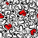 De dag naadloos patroon van Valentine ` s met harten Vector illustratie Stock Afbeelding