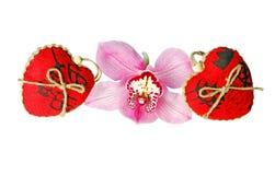 De dag rode harten van Valentine ` s De dag van de valentijnskaart `s Stock Foto's