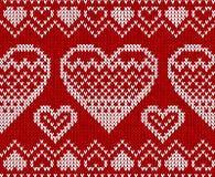 De dag rood gebreid vector naadloos patroon van valentijnskaarten Royalty-vrije Stock Afbeeldingen