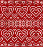 De dag rood gebreid vector naadloos patroon van valentijnskaarten Royalty-vrije Stock Foto's