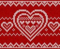 De dag rood gebreid vector naadloos patroon van valentijnskaarten Royalty-vrije Stock Afbeelding