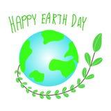 De Dag van de aarde Het vriendschappelijke concept van Eco Vector illustratie De dagconcept van de aarde De dagachtergrond van he royalty-vrije illustratie