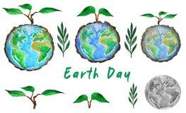 De Dag van de aarde Reeks van bol en boomspruit, waterverfillustratie royalty-vrije illustratie