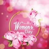 De dag van achtergrond gelukkige vrouwen vector met mooie bloem royalty-vrije illustratie