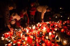 De dag van alle Heiligen, Pezinok, Slowakije Stock Foto's