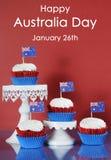 De Dag van Australië cupcakes en steekproeftekst Royalty-vrije Stock Foto's