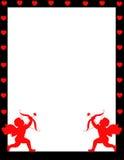 De dag van de achtergrond valentijnskaart van de Cupido grens Stock Fotografie