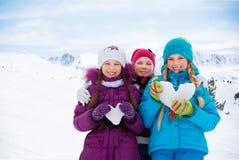 De dag van de de wintervalentijnskaart Stock Foto's