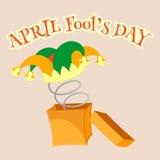 De dag van de dwazen van april GLB van de dwaas met klokken in een doos met de lente Stock Fotografie