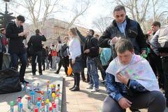 De Dag van de Dwazen van april in Odessa, de Oekraïne. royalty-vrije stock foto