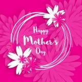 De dag van de gelukkige moeder Roze Bloemengroetkaart De dag van internationale vrouwen Stock Afbeelding
