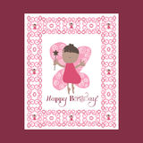 De dag van de gelukkige moeder Selebration De kaart van de Moederdag Groetkaart, vliegende feeën Feeroze Stock Foto