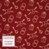 De dag van de gelukkige Valentijnskaart Het naadloze patroon van de valentijnskaart Vectorillust Royalty-vrije Stock Foto