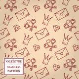 De dag van de gelukkige Valentijnskaart Het naadloze patroon van de valentijnskaart Vectorillust Stock Fotografie