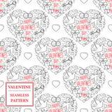 De dag van de gelukkige Valentijnskaart Het naadloze patroon van de valentijnskaart Vectorillust Royalty-vrije Stock Foto's